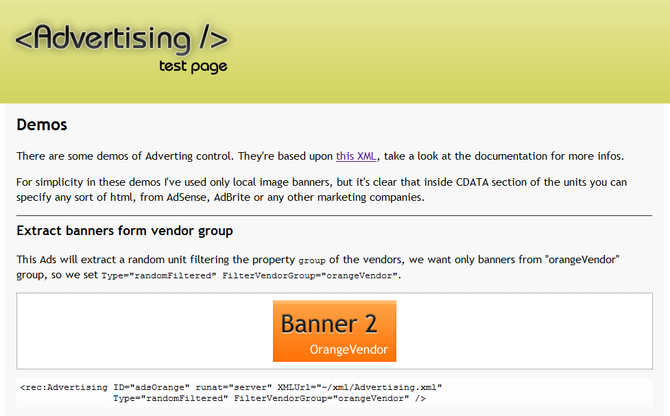 Advertising - A basic demo: filter units by vendor group