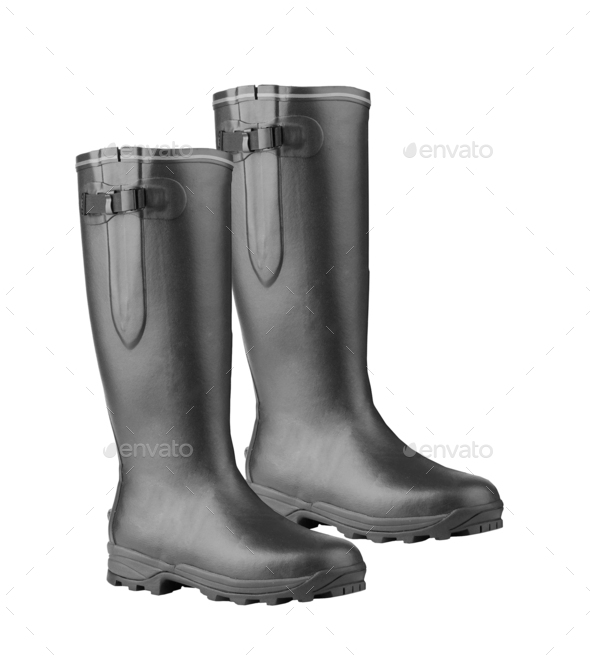 Rubber Boots on White Background - Stock Photo - Images