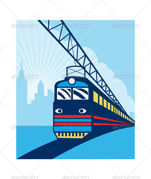 Electric Passenger Train Railroad Retro - Travel Conceptual