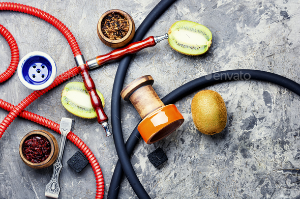 Oriental hookah with kiwi flavor - Stock Photo - Images