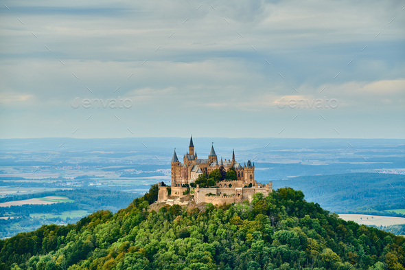 Hilltop Hohenzollern Castle on mountain top in Germany - Stock Photo - Images