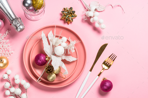 Christmas table setting on pink top view - Stock Photo - Images