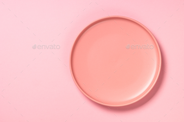 Table setting on pink top view - Stock Photo - Images