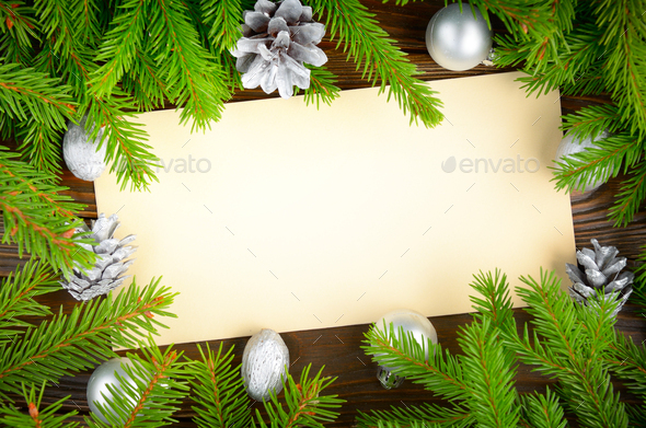 Flat lay mockup of holiday greeting card made of brown craft pape - Stock Photo - Images