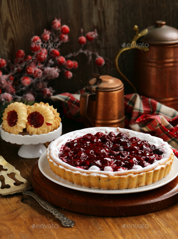 Homemade Cherry Pie Tart - Stock Photo - Images