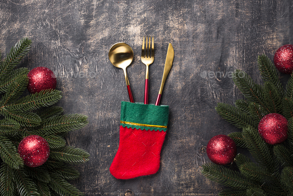 Christmas table setting with red decor - Stock Photo - Images