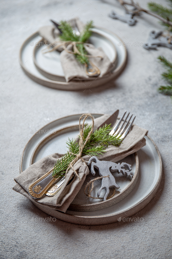 Cristmas table cutlery set with holiday decoration. Top view, copy space. - Stock Photo - Images
