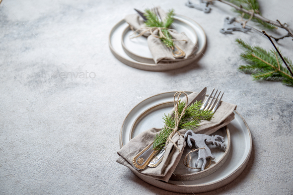 Christmas table cutlery set with holiday decoration. Top view, copy space. - Stock Photo - Images