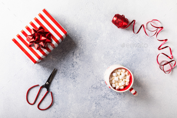Preparing for Christmas. Wrapping Gift Box - Stock Photo - Images