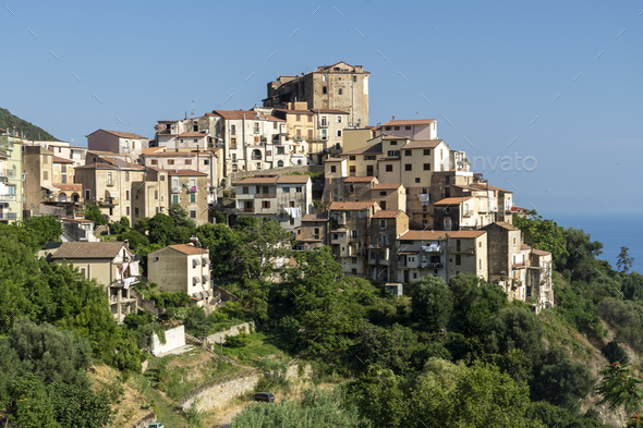 Panoramic view of Pisciotta, Southern Italy - Stock Photo - Images