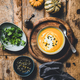 Pumpkin soup with seeds, fresh parsley and cream in bowl - PhotoDune Item for Sale