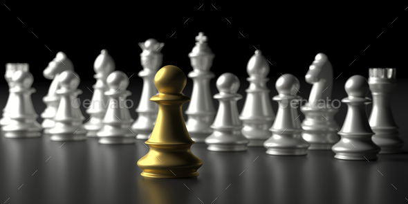 Chess soldier gold and silver chess set on black background. 3d illustration - Stock Photo - Images
