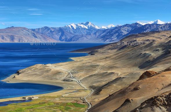 Himalayan lake Tso Moriri in the afternoon. Korzok, Ladakh, India - Stock Photo - Images