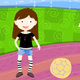 vector girl with football on the pattern ground - GraphicRiver Item for Sale