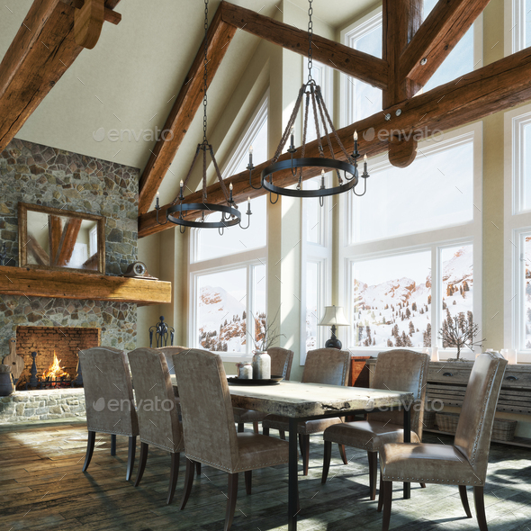 Winter cabin rustic dinning room - Stock Photo - Images