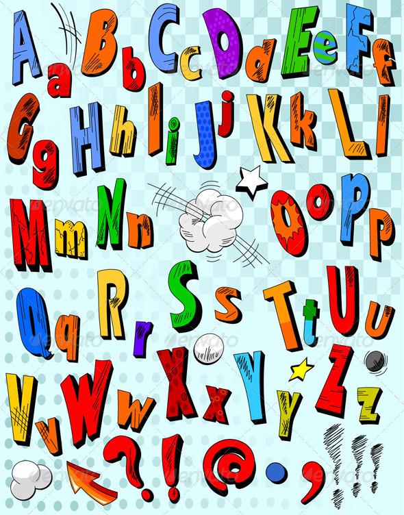 Comic book alphabet  - Decorative Vectors