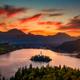 Colorful landscape sunrise at Lake Bled dramatic sky, Slovenia - PhotoDune Item for Sale