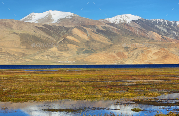 Reflection of Tso Moriri lake in Rupshu valley, Ladakh, India - Stock Photo - Images