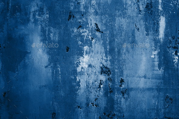Wall Painted in Classic Blue Color. - Stock Photo - Images