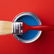 Can with Blue Paint with Red Brush. - PhotoDune Item for Sale