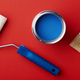 Can of Blue Paint with Brush and Paint Roller. - PhotoDune Item for Sale