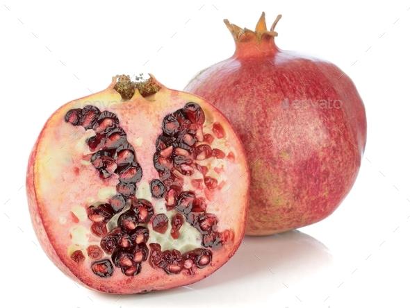 Pomegranate Fruit on a White Background - Stock Photo - Images