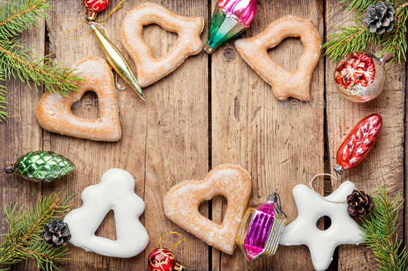 Christmas gingerbread and decoration - Stock Photo - Images