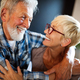 Happy romantic senior couple hugging and enjoying retirement at home - PhotoDune Item for Sale