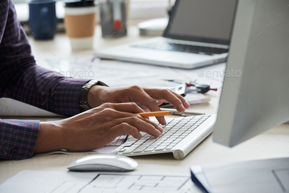 Typing on keyboard - Stock Photo - Images