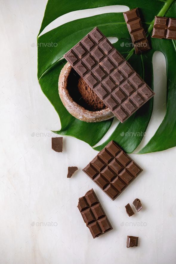 Dark chocolate with cocoa - Stock Photo - Images