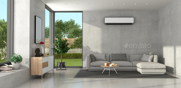 Living Room With Modern Furniture, Living Room Air Conditioner