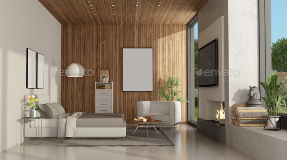 White And Wooden Minimalist Master Bedroom With Fireplace Stock Photo By Archideaphoto