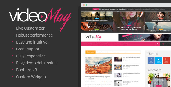 VideoMag - Magazine Video blog Theme