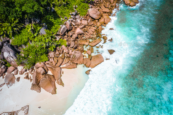 Aerial drone photo of Seychelles tropical beach Anse Marron at La Digue island - Stock Photo - Images
