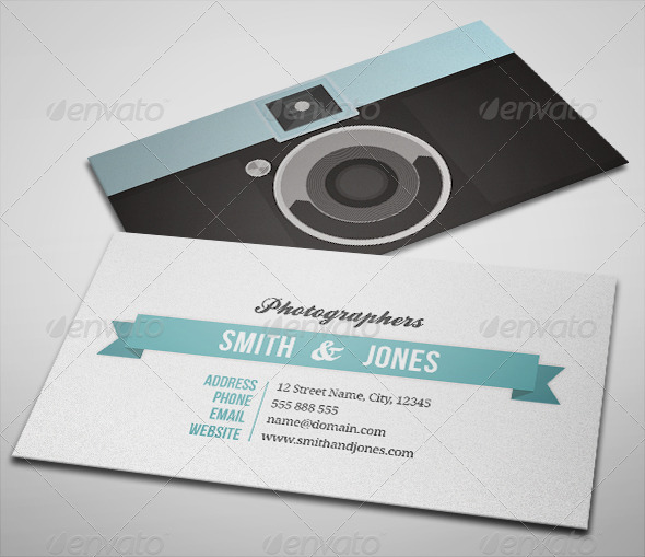 Sleek illustrated photography business card by hazzle for Portrait business cards