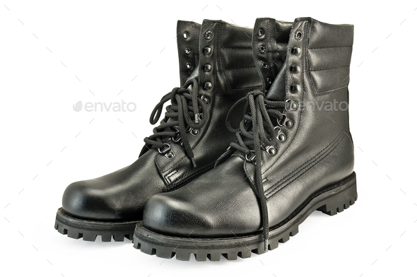 Army pair high boots - Stock Photo - Images