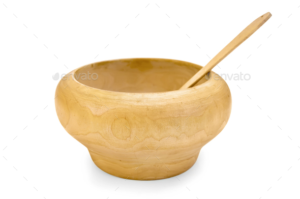 Bowl wooden with a spoon - Stock Photo - Images