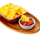 Chips in tomato sauce on a clay plate - PhotoDune Item for Sale