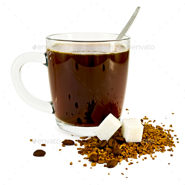 Coffee in a glass mug with sugar - Stock Photo - Images