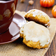 Cookies pumpkin with cup on sacking - PhotoDune Item for Sale