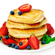 Flapjacks with strawberries and blueberries in plate - PhotoDune Item for Sale
