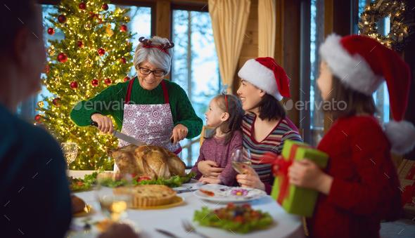 family celebrating Christmas - Stock Photo - Images