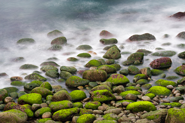 Green Stones In The Surf, Iceland - Stock Photo - Images