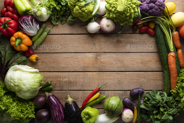 Healthy food, vegetables on a wooden table - Stock Photo - Images