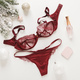 Red lace lingerie and perfume bottle. Gift set of women's accessories and underwear on flat lay. - PhotoDune Item for Sale