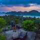 Female Backpacker admires beautiful landscape of the Ko Phi Phi  after sunset, Thailand - PhotoDune Item for Sale