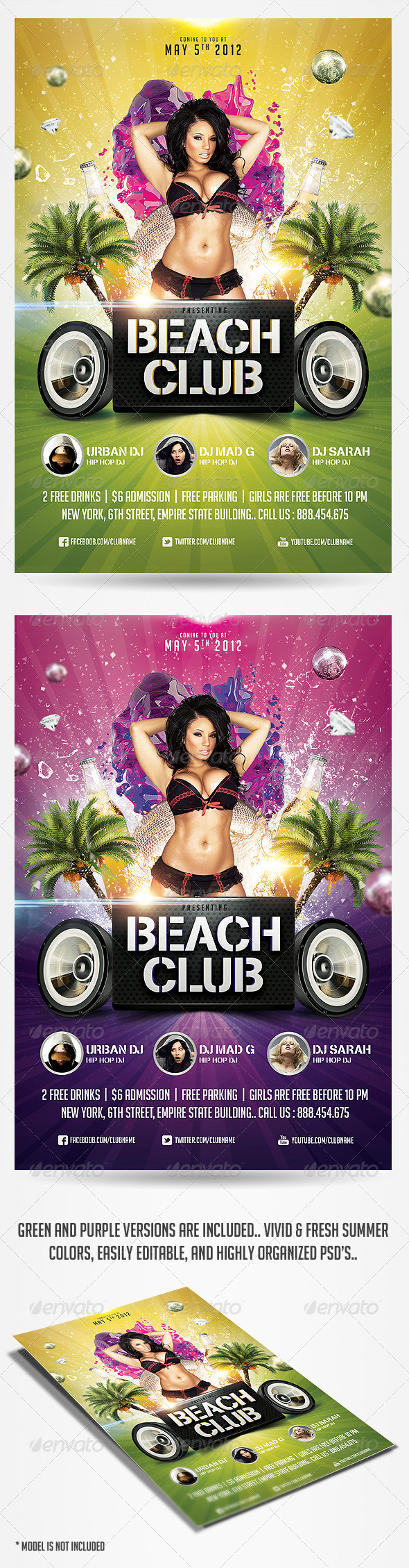 Summer Beach Club Flyer Template - Clubs & Parties Events