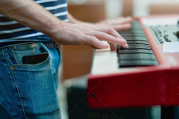Keyboard player detail - Stock Photo - Images