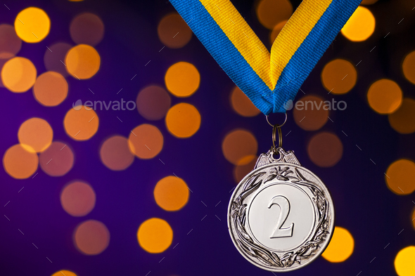 Silver second place runner up medallion on ribbon - Stock Photo - Images