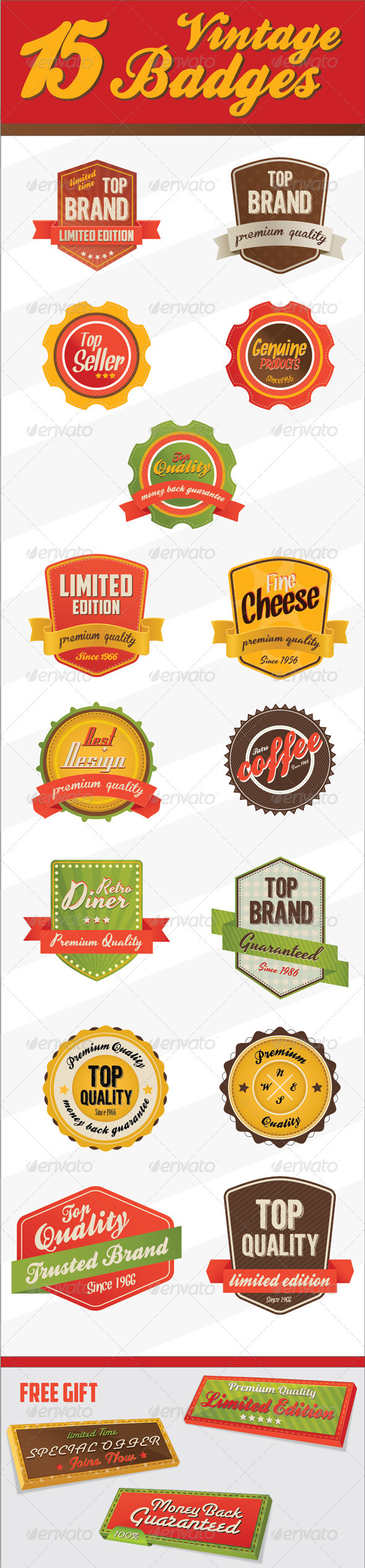 Retro Vintage Badges & logo - Web Elements Vectors